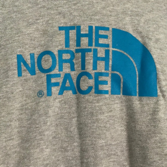 983b902eb Grey North Face Hoodie with Blue Lettering